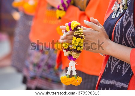 """Jasmine garland  which are different from other places. Thai garlands called """"Phuang Malai"""" - stock photo"""