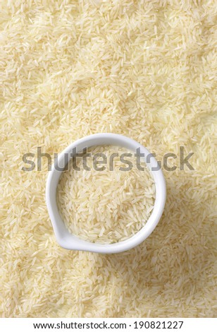 jasmine rice with measured portion in the bowl - stock photo