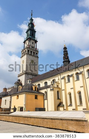 Jasna Gora sanctuary in Czestochowa, Poland. Very important and most popular pilgrimary place in Poland - stock photo