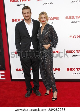 """Jason Segel and Cameron Diaz at the Los Angeles premiere of """"Sex Tape"""" held at the Westwood Regency Theatre in Los Angeles, United States, 10-07-14.  - stock photo"""