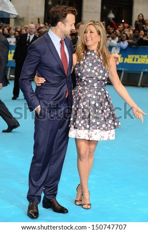 Jason Sudeikis and Jennifer Aniston arriving for the 'We're The Millers' European Premiere, Odeon West End, London. 14/08/2013 - stock photo