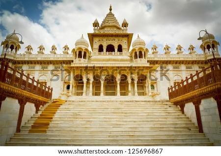 Jaswant Thada mausoleum entrance, Mehrangarh, Jodhpur, Rajasthan, India - stock photo