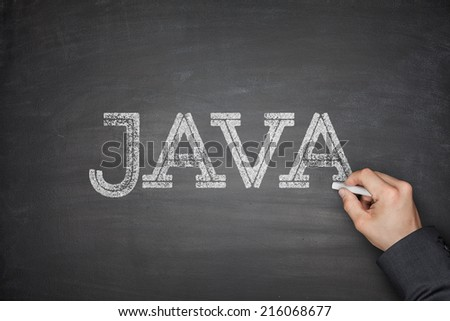 Java concept on black blackboard with hand - stock photo