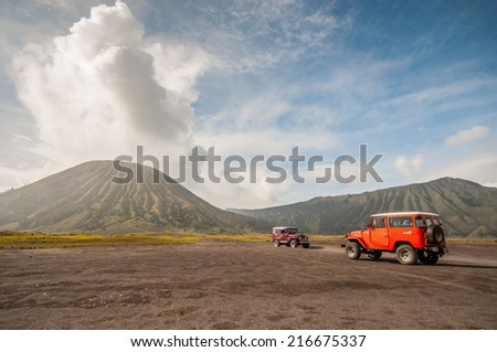 Java,Indonesia-Arpil 25,2010 : Tourists 4x4 Jeep for tourist rent at Mount Bromo,The active Mount Bromo is one of the most visited tourist attractions in East Java , Indonesia. - stock photo