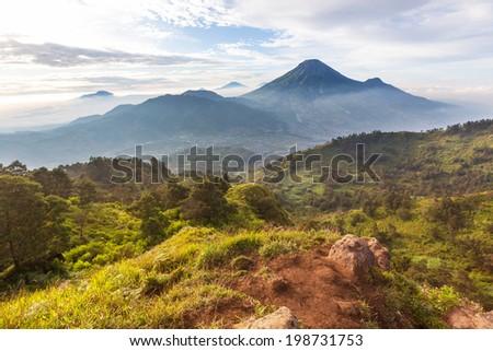 Java volcanic landscapes - stock photo