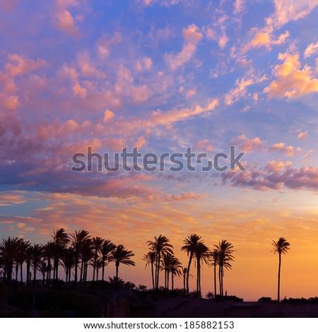 Javea Xabia El Arenal beach sunrise in Mediterranean Alicante Spain - stock photo