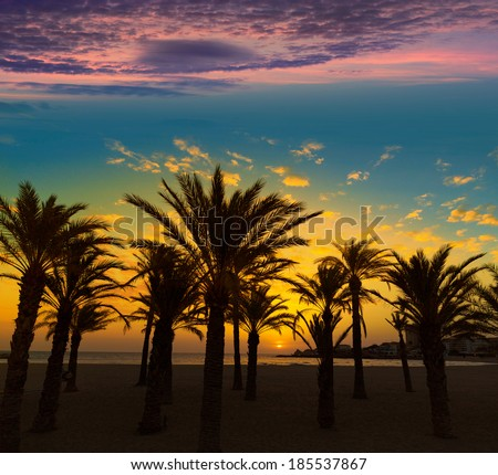 Javea Xabia El Arenal beach sunrise in Mediterranean Alicante Spain [photo-illustration] - stock photo