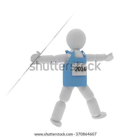 Javelin thrower puppet with sport shirt isolated over white, 3d render - stock photo