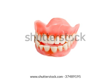 Jaw smile from plastic teeth - stock photo
