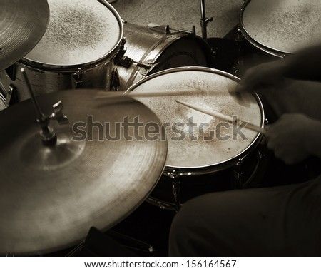 Jazz drummer - stock photo