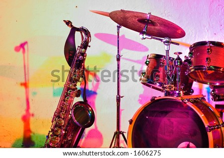 Jazz instruments before the jam session - colorful lighting - color version - stock photo