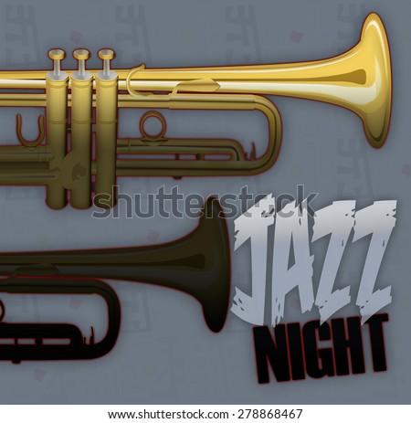 Jazz music poster - stock photo