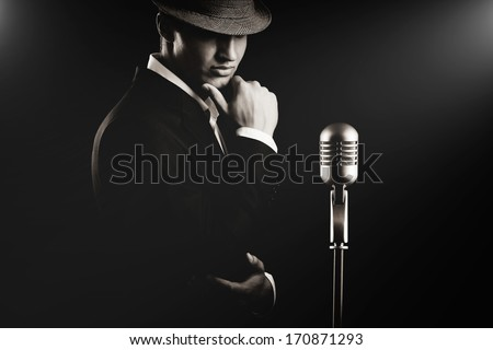 Jazz musician. Night club. Cotton club. New Orleans.  - stock photo