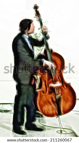 Jazz musician playing bass - stock photo
