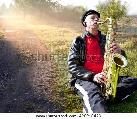 Jazz on the road. nature. Sunrise. - stock photo