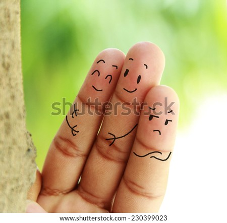 jealous and lovely couple - stock photo
