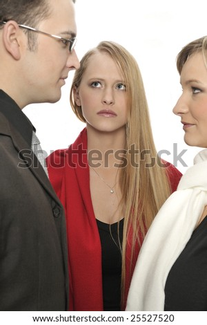 JEALOUS GIRL WATCHING BOYFRIEND IN LOVE TO ANOTHER WOMAN - stock photo