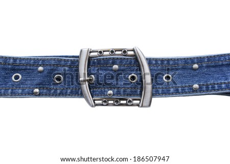 Jean belt with silver buckle and rivets on white background - stock photo