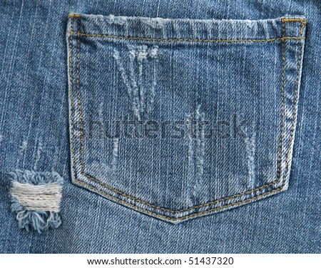 Jean Pocket with a Worn torn Look - stock photo