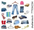 jeans and clothing collection isolated on white - stock photo