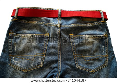 Jeans and red belt - stock photo