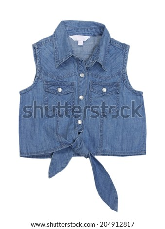 Jeans female vest isolated on white. Girl wear. - stock photo