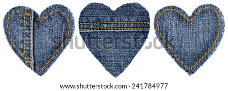 Jeans Heart Shape Patch Object with Stitches Seam, Decorative Fabric Joint Isolated White Background, Valentines Day Textile Icon - stock photo