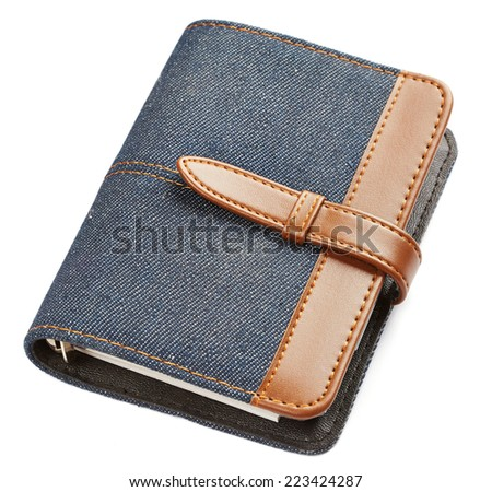 Jeans notebook isolated on white background - stock photo