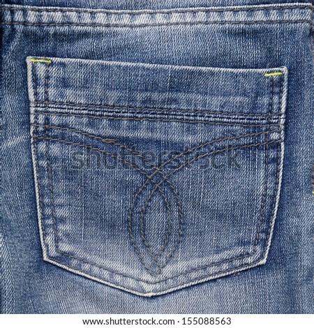 Jeans pocket. Fragment of jeans. Denim textured backdrop. - stock photo