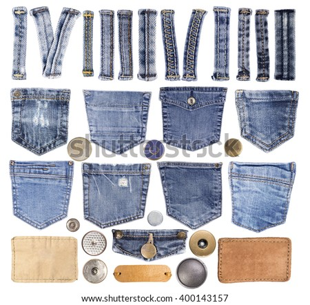 Jeans pockets, loops, buttons and other elements isolated on white background - stock photo