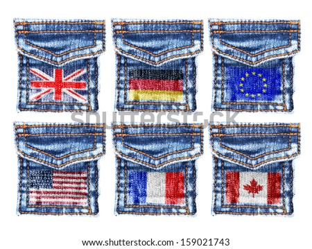 Jeans pockets with the flags of England,Germany,Europe,America,Canada. - stock photo