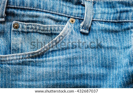 Jeans small pocket. Close up of denim blue jeans pocket. - stock photo