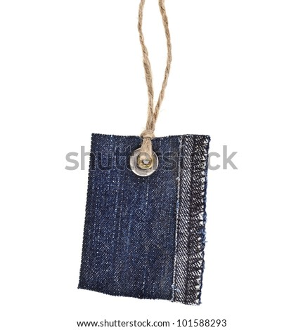 Jeans Tag Isolated on White - stock photo