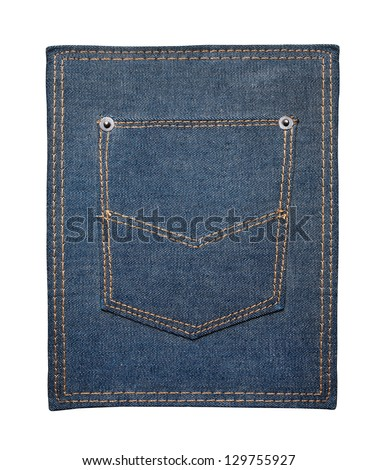 Jeans texture with pocket - stock photo