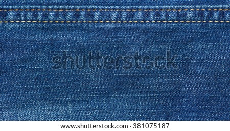Jeans texture with seam Jeans background - stock photo