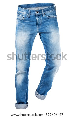 Jeans trouser isolated over white background - stock photo
