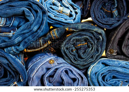 Jeans trousers rolls, close up - stock photo