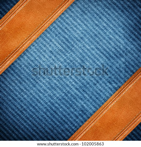 jeans with leather strip - stock photo