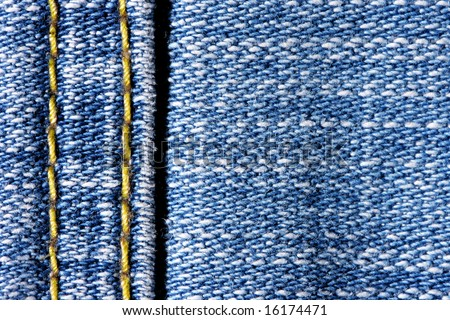 Jeans with yellow stitch and space for your own text on right - stock photo