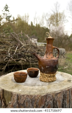 Jebene. Ethiopian coffee in jebena. Ethiopian tradition of coffee drinking with jebene - stock photo