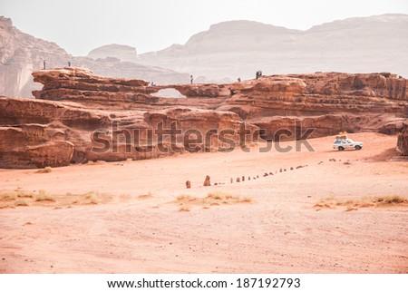 Jeep Safari in the desert of Wadi Rum, Jordan - stock photo