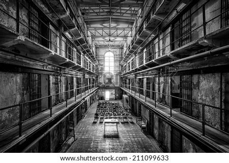 JEFFERSON CITY, MISSOURI - JULY 22: Cell block of the Missouri State Penitentiary on July 22, 2014 in Jefferson City, Missouri - stock photo