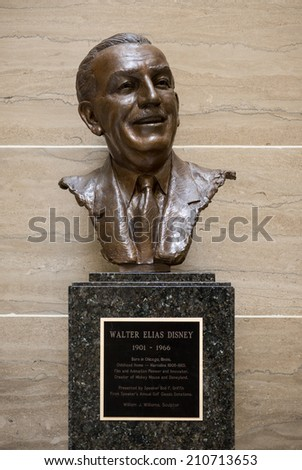 JEFFERSON CITY, MISSOURI - JULY 21: Statue of Walt Disney in the Missouri State Capitol on July 21, 2014 in Jefferson City, Missouri - stock photo