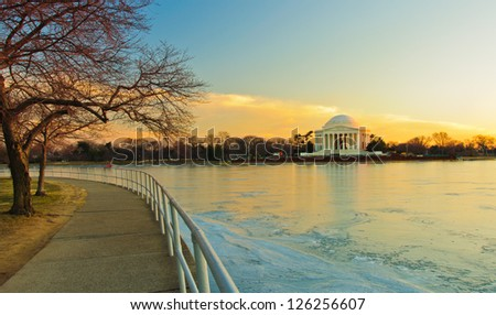 Jefferson Memorial and a frozen Potomac at sunset. Washington, DC - stock photo