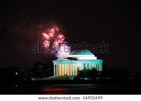 Jefferson memorial and fireworks in Washington DC - stock photo