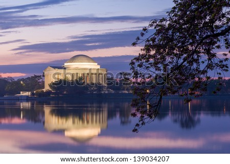 Jefferson Memorial at dawn by Tidal Basin, DC - stock photo