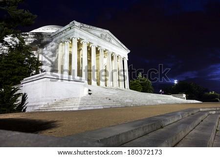 Jefferson Memorial at night.  Washington D.C. - stock photo