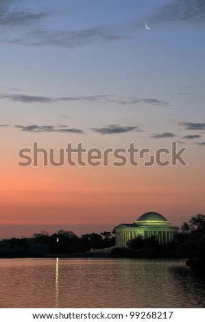 Jefferson Memorial Sunrise with Crescent Moon Vertical with Copy Space - stock photo