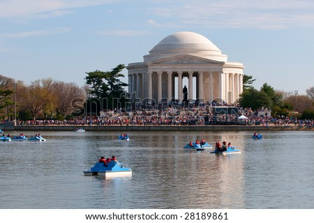 Jefferson Memorial, Tital Basin, Washington DC - stock photo
