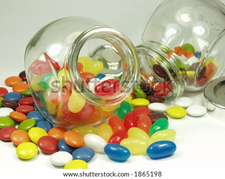 jelly beans and cristal pot - stock photo